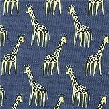 Timeless Treasures Dunkelblaugrauer Stoff mit Giraffen von Dear Stella