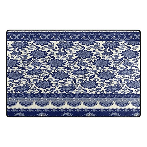 best bags Paillasson d'entrée en Porcelaine Motif Floral Bleu et Blanc Tapis de Sol décoratif pour Bureau et Maison 78,7 x 50,8 cm