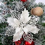 Turbobm 5 Pezzi Ciondolo Decorazione Albero di Natale Glitter Fiori Colorati per Ornamenti Natalizi Festa di Natale decori Decorazioni Albero Regalo di Natale