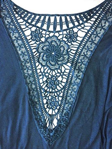 Jusfitsu Damen Rundkragen Langarm Bluse Rueckenfrei Falten T-Shirt Tops Elegante Spitzen Langarmshirts Blau