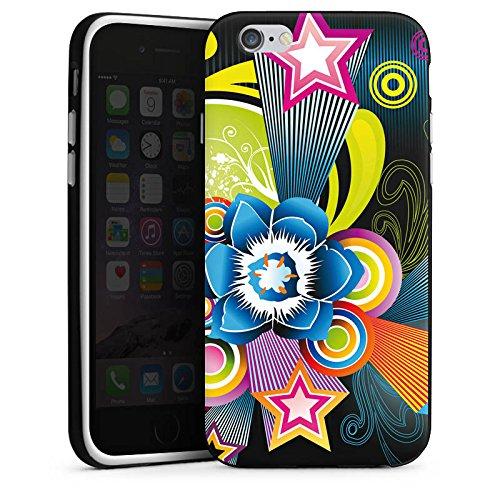Apple iPhone X Silikon Hülle Case Schutzhülle Ornamente Flower Bunt Silikon Case schwarz / weiß
