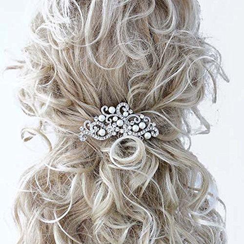 Handmadejewelrylady Haarkamm Brautschmuck für Damen mit Strasssteinen