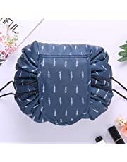 SHOPPOWORLD Women's Convenient and Waterproof Multifunction Portable Lazy Travel Cosmetic Storage Makeup Organizer Toiletry Bag with Drawstrings (Dark Blue Leaf)