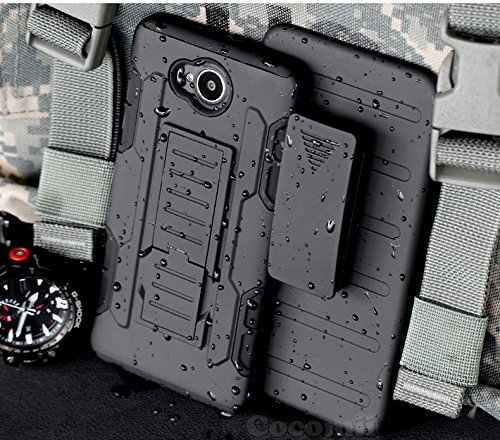 Nokia Lumia 735 / 730 Coque, Cocomii Robot Armor NEW [Heavy Duty] Premium Belt Clip Holster Kickstand Shockproof Hard Bumper Shell [Military Defender] Full Body Dual Layer Rugged Cover Case Étui Housse Microsoft (Black)