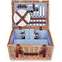 Schramm - Set da picnic con cestino rettangolare in legno di salice per 2 persone, interno blu a quadretti