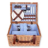Schramm® Picknickkorb rechteckig aus Weidenholz für 2 Personen Picknickkoffer Picknickset Picknick Korb innen blau kariert