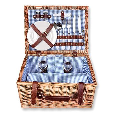Schramm® Picknickkorb 40x30x20cm rechteckig aus Weidenholz für 2 Personen Picknickkoffer Picknickset Picknick Korb innen…
