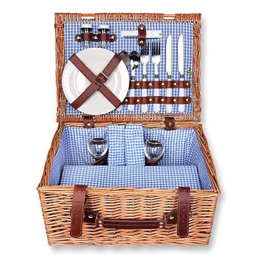 Schra Set da picnic con cestino rettangolare legno di salice per 2 persone interno blu quadretti