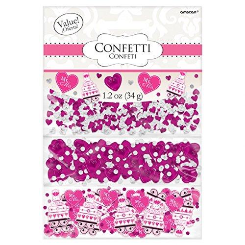 Amscan Hochzeitskonfetti (Teilweise mit Text in Englischer Sprache), Pink, 3Packungen mit Verschiedenen Motiven