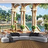 Wandgemälde Benutzerdefinierte Tapete 3D Stereo Raum Balkon Wasserfall Landschaft Römische Spalte Fototapete Wohnzimmer Schlafzimmer Hintergrund Dekor Wandbild,60Cm(H)×120Cm(W)