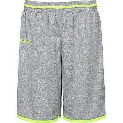 Spalding Herren Move Shorts, Dark Grey Melange/Fluo gelb, 4XL