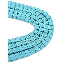 50 perline turchesi con pietre semipreziose da 8 mm, cubo blu, 1 filo, per collane, anelli, fai da te, turquoise Beads…