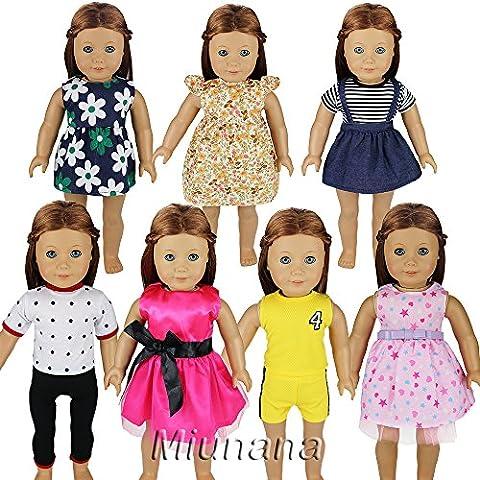 Miunana 7 Sets Kleidung Fashion Süß Rock Hemd Sport für 45-46 cm Götz 18 Inch Doll Puppen American Girl Stehpuppen