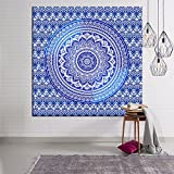 Indian Mandala Wall Hanging Tapestry, Hippie Hippy Tapestries, Feather Peacock Print Tapestry, Cotton Handmade Badsheet Home Decor (Multi Color)) , 150x130