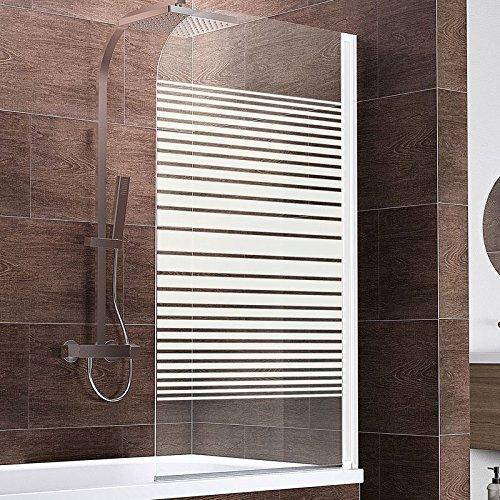 Schulte Duschwand Berlin, 80x140 cm, 5 mm Sicherheitsglas Querstreifen, alpin-weiß, Duschabtrennung für Badewanne