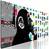 decomonkey | Bilder Affe Banksy Abstrakt 150x50 cm XXL | 1 Teilig | Leinwandbilder |Bilder| Vlies Leinwand | Wand | Bild | Wandbild | Kunstdruck |Wanddeko| Graffiti Kunst modern Ziegel bunt Abstrakt
