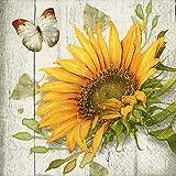 Servietten (2er Set / 40Stück) 3-lagig 33x33cm Sonnenblume Vintage Sunflower