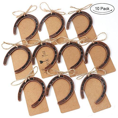 AerWo 10pcs Lucky Horseshoe Favor de la boda numero de la tabla de DIY con tarjetas de etiqueta para la decoracion de la boda rustica regalo de boda
