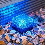 LED Solar Glas Pflasterstein Wegbeleuchtung blau klein Lights4fun