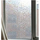 CVANU Privacy Window Film White Window 3D Shiny Matt Mosaic Frosting Film Window Sticker Window Frosted Vinyl Sheets for Front Door/Bathroom/Sidelight/Small Windows, 24''x36''