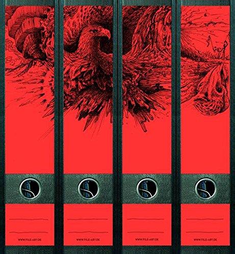 Ordnerrücken Neon Orange Rot Adler Eagle Buch Ordner Ordneraufkleber Deko NC004