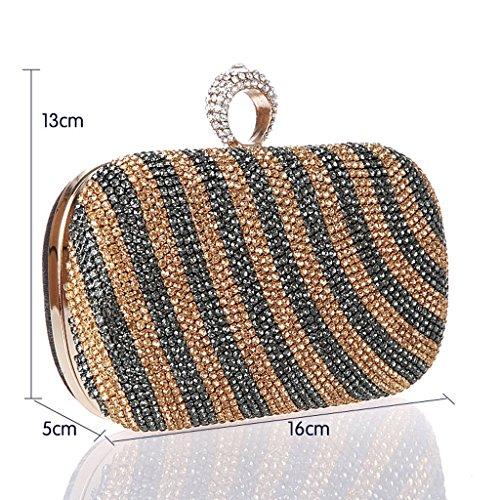 Le nuove increspature d'acqua mini Pochette sposa femminile del sacchetto chiusura anello borsa borsa banchetto diamante borsa di sera ( Colore : Blu ) Nero