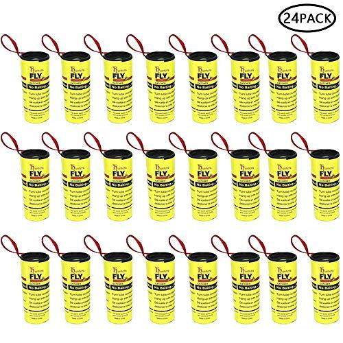 Pawaca 24 Rouleaux de Papier Tue-Mouche, Piège Sticky à Insectes, Bandes de Papier Fly, Piège à Insectes Mouche, Moustiques, Mites D'intérieur Ou D'extérieur - Écologique 100% Non Toxique