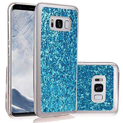 JAWSEU Samsung Galaxy S8 Coque Transparent Glitter,Samsung Galaxy S8 Etui en Silicone Clair avec Pailletee,Brilliante Bling Étoile Perles Soft Tpu Case Cover,Ultra Slim Sparkle Scintillant Flexible So blue#