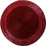 6er Pack Glasperlen Tischset handgefertigt Ø36cm Auswahl: rot - weinrot