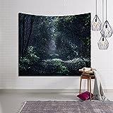 Be&xn Tapisserie, Wandbehang Misty Forest Tapestry Sternenhimmel Wald-Baum-gobelin Tagesdecke Werfen Decke Nach Hause Raum Wanddekor-B W150xH130cm(59x51inch)