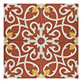 "Moroccan Mosaic & Tile House AgadirCTP01-14 Cement Tile Agadir Red and White Handmade Moroccan 8 x 8-inch Floor/Wall (Pack of 12), 8"" x 8"", Red White Yellow, 12 Piece"