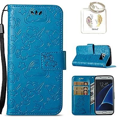 für Samsung Galaxy S7 Hülle Geprägte Muster Handy PU Leder Silikon Schutzhülle Handy case Book Style Portemonnaie Design für Samsung Galaxy S7 + Schlüsselanhänger?/*134) von Qkldm