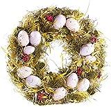 Britesta Osterdekoration: Osterkranz mit rosa- und fliederfarbenen Eiern, gelbem Stroh, Ø 34 cm (Ostern-Tischdeko)