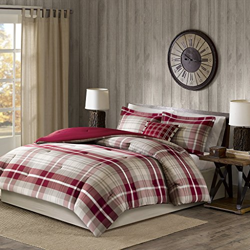 Woolrich Comforter Set, Tan/Red, Queen
