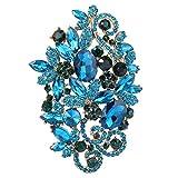 Ever Faith Gold-Tone ovale di cristallo austriaca di figura del fiore Inverno Spilla Blu N04829-4 immagine