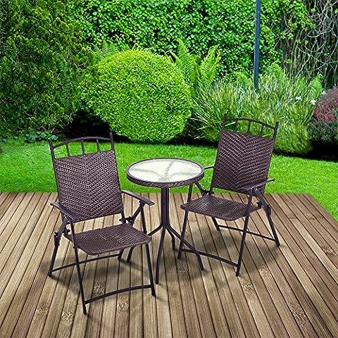 Salon d'extérieur bistro en rotin table ronde et 2 chaises pliantes avec accoudoir
