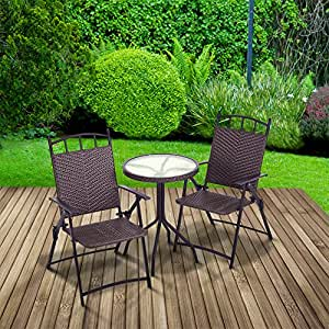 """Bistro Set """"Allegra"""" : Round Glass Table Top + Folding Armchairs 