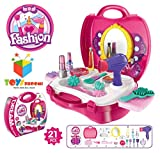 #3: Toys Bhoomi Girls Bring Along Beauty Suitcase Makeup Vanity Toy Set, Pink