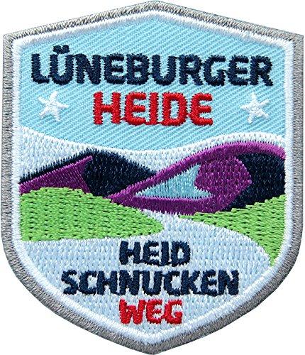 2 x Lüneburger Heide Abzeichen gestickt 51 x 60 mm / Heidschnuckenweg Wanderweg Hamburg Celle / Aufnäher Aufbügler Flicken Sticker Patch / Wandern Wanderführer Wanderkarte Touren-Karte Reiseführer