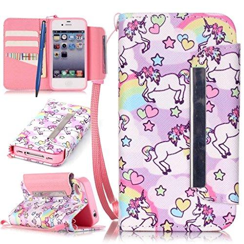 Careynoce custodia in pelle per iphone 4/4s,campanula,ragazza,unicorno,fiore,portafoglio flip pu cuoio caso per apple iphone 4/4s (3.5 pollice) protettiva cover -- unicorno