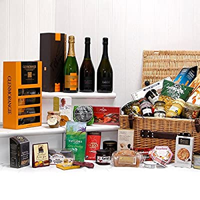 The Cheltenham Hamper - Large Luxury Wicker Hamper Basket with 40 Gourmet Food Items, Veuve Clicquot Vintage Champagne, Glenmorangie Whisky & Tumblers Gift Box, Di Maria Prosecco & Sparkling Rose Wines by Fine Food Store Gift ideas for - Mothers Day,Valen