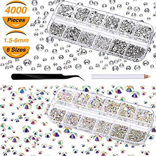 4000 Stücke Glas Flatback Edelsteine Runde Flat Back Strasssteine 6 Größen 1,5 mm-6 mm in Box mit...