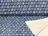 Sweatstoff Blätter von Swafing byGraziela in Jeansblau