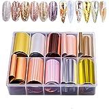 EBANKU 10 rollen metallic kleur holografische nagel folie transfer sticker, nagelfolie zelfklevende sticker, nail art tips kr