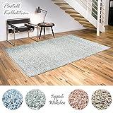Shaggy-Teppich Pastell Kollektion | Flauschige Hochflor Teppiche für Wohnzimmer Küche Flur Schlafzimmer oder Kinderzimmer | Einfarbig, schadstoffgeprüft (Mint - 150 x 150 cm quadratisch)