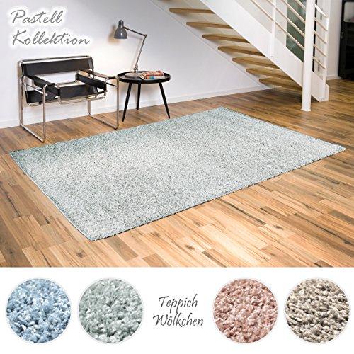 Shaggy-Teppich Pastell Kollektion   Flauschige Hochflor Teppiche fürs Wohnzimmer, Esszimmer, Schlafzimmer oder Kinderzimmer   Einfarbig, Schadstoffgeprüft (Mint - 60x90 cm)