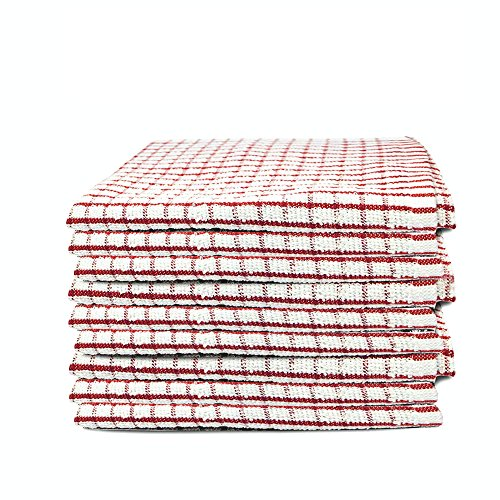6 Pack Red and White Terry Tea Towel Super Absorbent Dish Cloth (40 x 60cm)
