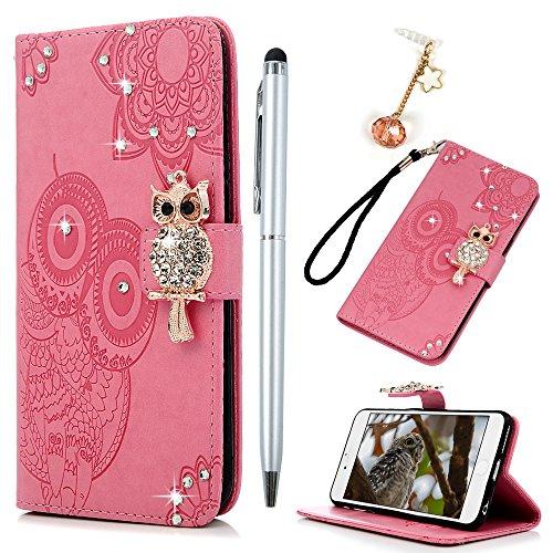 Badalink Hülle für iPhone 6 / iPhone 6s Rosa Eule Diamanten Handyhülle Leder PU Case Cover Magnet Flip Case Schutzhülle Kartensteckplätzen und Ständer Handytasche mit Eingabestifte und Staubschutz Ste Rosa
