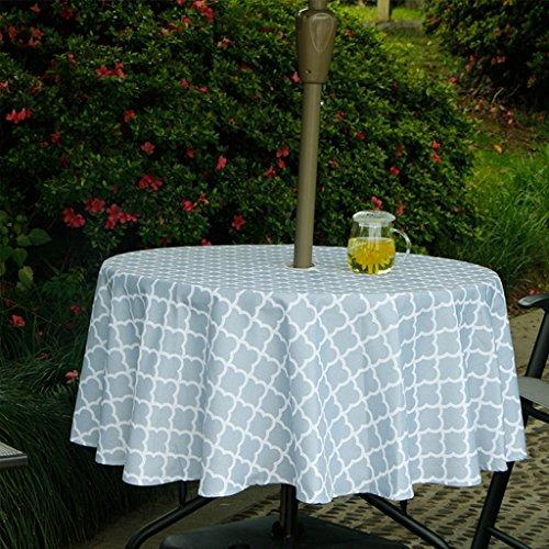tdoor Wasserdicht Polyester-Lufterfrischer-Tisch Bezug mit Reißverschluss Regenschirm Loch für Küche Eßzimmer Tabletop Dekoration, 100% Polyester, Grey Cloud, 60