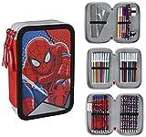 Spiderman 2700-200 Astuccio Triplo, 3 Scomparti, Pennarelli, Pastelli, Accessori Scuola 42 pezzi, Poliestere, Multicolore